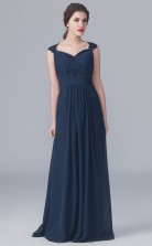 BDUK10004 Navy Blue 102 Chiffon A Line V Neck Long Bridesmaid Dresses With Open Back