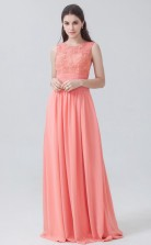 BDUK10005 Watermelon 26 Lace Chiffon A Line Jewel Long Bridesmaid Dresses With High/Covered Back