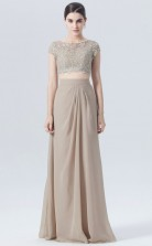 BDUK10007 Gray 93 Lace Chiffon A Line Scoop Half Sleeve Long Bridesmaid Dresses With High/Covered Back