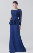 BDUK10015 Royal Blue 28 Lace Chiffon Mermaid/Trumpet ScallopedEdge Long Sleeve Long Bridesmaid Dresses With High/Covered Back