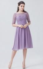 BDUK10016 Lilac 24 Lace Chiffon A Line Boat/Bateau Half Sleeve Knee Length Bridesmaid Dresses