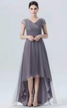 BDUK10019 Antigque white 121 Tulle A Line V Neck Short/Cap Sleeve HiLo Bridesmaid Dresses With Mid Back