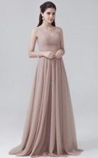 BDUK10024 NudePink 83 Tulle A Line One Shoulder Long Bridesmaid Dresses