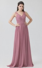 BDUK10025 Pale Violet Red 32 Lace Chiffon A Line V Neck Long Bridesmaid Dresses