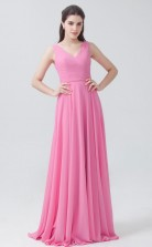 BDUK10027 Hot Pink 6 Chiffon A Line V Neck Long Bridesmaid Dresses