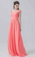 BDUK10031 Tomato 128 Chiffon A Line Sweetheart Short/Cap Sleeve   Bridesmaid Dresses