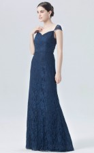 BDUK10032 Navy Blue 102 Lace Mermaid/Trumpet Sweetheart Short/Cap Sleeve Long Bridesmaid Dresses With Mid Back