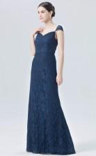 BDUK10032 Navy Blue 102 Lace Mermaid/Trumpet Sweetheart Short/Cap Sleeve Long Bridesmaid Dresses With Mid Back