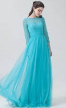 BDUK10036 Turquiose 56 Lace Tulle A Line Boat/Bateau 3/4 Sleeve Lengh Long Bridesmaid Dresses With High/Covered Back