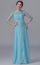 BDUK10039 Light Blue 22 Lace Chiffon A Line ScallopedEdge 3/4 Sleeve Lengh Long Bridesmaid Dresses With High/Covered Back