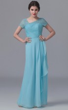 BDUK10043 Light Blue 22 Lace Chiffon A Line Asymmetric Short/Cap Sleeve Long Bridesmaid Dresses With Mid Back