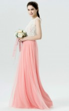 BDUK10044 Light Salmon 35 Lace Tulle A Line Jewel Long Bridesmaid Dresses With High/Covered Back
