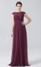 BDUK10045 Maroon 34 Lace Tulle A Line Boat/Bateau Short/Cap Sleeve Long Bridesmaid Dresses With Low Back