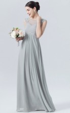 BDUK10049 Silver 73 Chiffon A Line Boat/Bateau Short/Cap Sleeve Long Bridesmaid Dresses With Mid Back