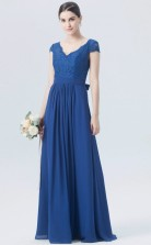 BDUK10050 Light Royal Blue 135 Lace Chiffon A Line V Neck Short/Cap Sleeve Long Bridesmaid Dresses With Mid Back
