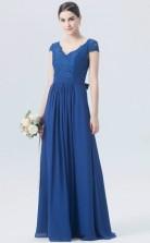 BDUK10050 Light Royal Blue 135 Lace Chiffon A Line V Neck Short/Cap Sleeve Long Bridesmaid Dresses With Mid Back