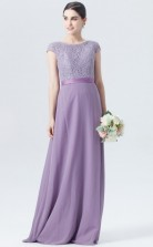 BDUK10051 Lilac 24 Lace Chiffon A Line Scoop Short/Cap Sleeve Long Bridesmaid Dresses With Mid Back