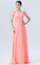 BDUK10053 Salmon 136 Chiffon A Line Sweetheart Long Bridesmaid Dresses With Mid Back