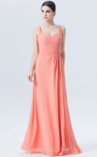 BDUK10054 Salmon 136 Chiffon A Line Straps Long Bridesmaid Dresses With Mid Back