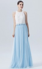 BDUK10055 Sky Blue 51 Lace Tulle A Line Jewel Long Bridesmaid Dresses With High/Covered Back