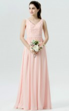 BDUK10056 Pink 12 Lace Chiffon A Line V Neck Long Bridesmaid Dresses With Mid Back