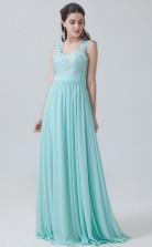 BDUK10057 Midium Turquiose 88 Lace Chiffon A Line ScallopedEdge Long Bridesmaid Dresses With Low Back