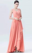 BDUK10060 Salmon 136 Chiffon A Line V Neck HiLo Bridesmaid Dresses