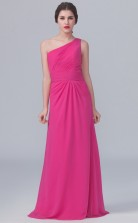 BDUK10065 Margenta 145 Chiffon Sheath One Shoulder Long Bridesmaid Dresses With Mid Back