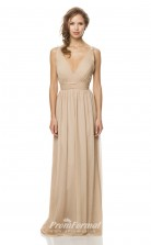 1452UK2002 A Line V Neck Champange Chiffon Low Back Bridesmaid Dresses