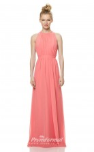 1471UK2008 A Line Halter Watermelon Chiffon High/Covered Bridesmaid Dresses