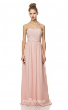 1474UK2010 A Line Strapless Candy Pink Chiffon Mid Back Bridesmaid Dresses