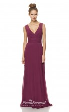 1479UK2011 A Line V Neck Dark Fuchsia Chiffon Open Back Bridesmaid Dresses