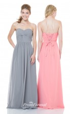 1502UK2014 A Line Sweetheart Watermelon Chiffon Lace Up Bridesmaid Dresses