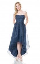 1509UK2018 A Line Sweetheart Navy Blue Organza Mid Back Bridesmaid Dresses