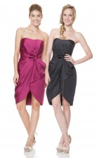 1523UK2029 Sheath/Column Strapless Black Taffeta Zipper Bridesmaid Dresses
