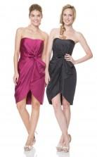 1523UK2029 Sheath/Column Strapless Black Taffeta Zipper Bridesmaid Dresses