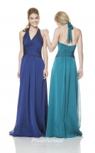1526UK2030 A Line Halter Light Steel Blue Chiffon Zipper Bridesmaid Dresses