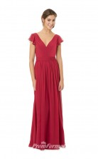 1550UK2034 A Line Short/Cap Sleeve V Neck Light Burgundy Chiffon Mid Back Bridesmaid Dresses