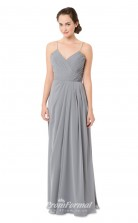 1551UK2035 A Line Straps Silver Chiffon Zipper Bridesmaid Dresses