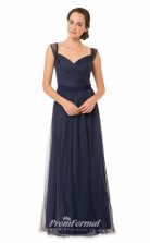 1559UK2039 A Line Straps Navy Blue Tulle Zipper Bridesmaid Dresses