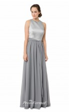 1561UK2041 A Line Jewel Silver Chiffon Open Back Bridesmaid Dresses