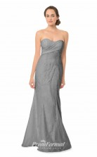 1563UK2042 Mermaid/Trumpet Sweetheart Silver Lace Mid Back Bridesmaid Dresses