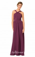 1566UK2043 A Line Halter Grape Chiffon Mid Back Bridesmaid Dresses