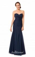 1572UK2047 Mermaid/Trumpet Sweetheart Navy Blue Tulle Mid Back Bridesmaid Dresses