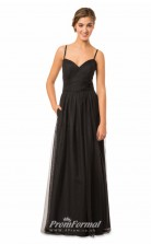 1574UK2049 A Line Straps Black Tulle Zipper Bridesmaid Dresses