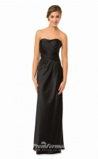 1578UK2052 Sheath/Column Strapless Black Taffeta Mid Back Bridesmaid Dresses