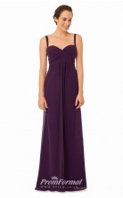 1579UK2053 A Line Straps Grape Chiffon Zipper Bridesmaid Dresses
