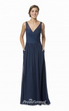 1582UK2056 A Line V Neck Navy Blue Chiffon Zipper Bridesmaid Dresses