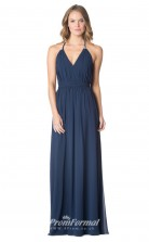 1600UK2059 A Line V Neck Navy Blue Chiffon Open Back Bridesmaid Dresses