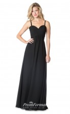 1603UK2062 A Line Sweetheart Black Chiffon Strappy Bridesmaid Dresses
